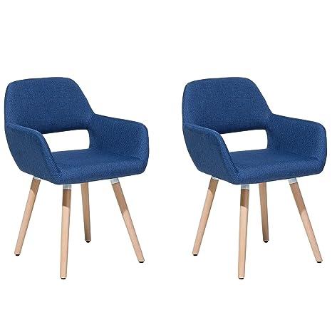 Beliani Conjunto de 2 sillas de Comedor Azul Marino Chicago