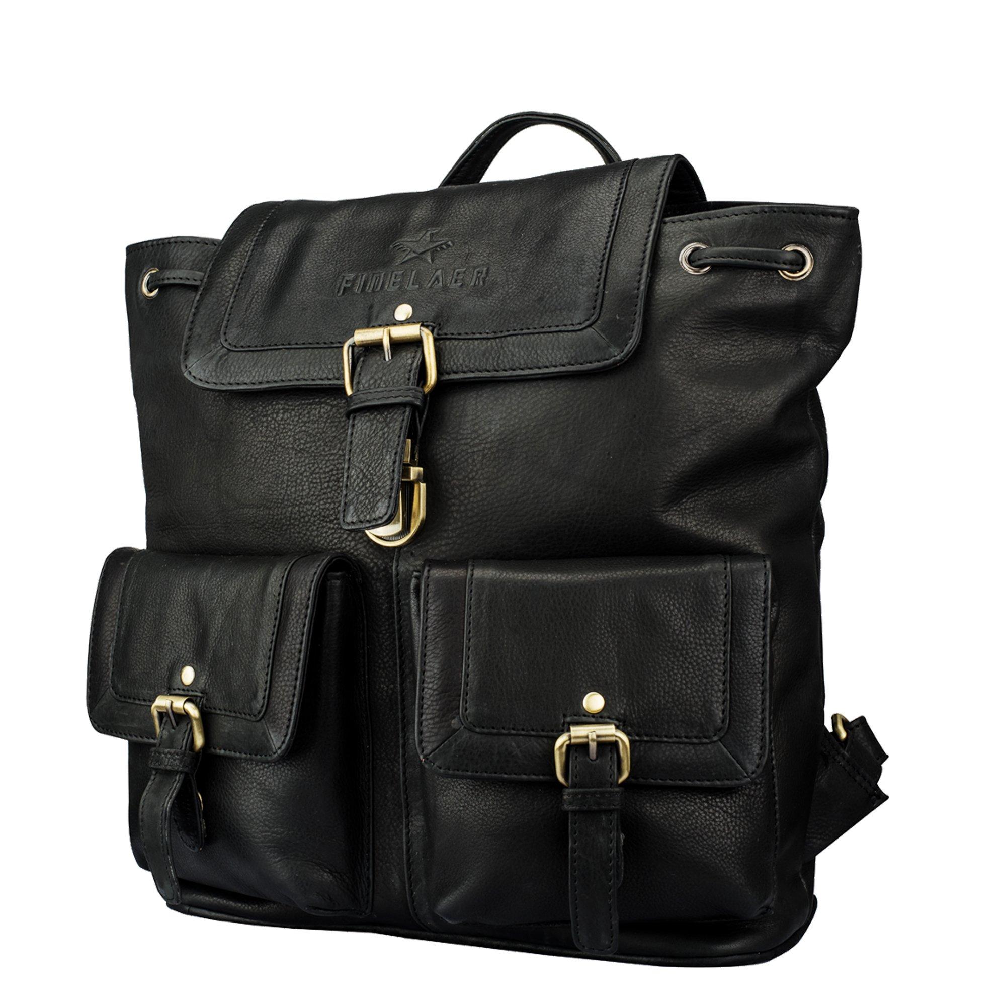 Vintage Laptop Backpack Daypack Rucksack Hiking College Travel Bag Black   Finelaer