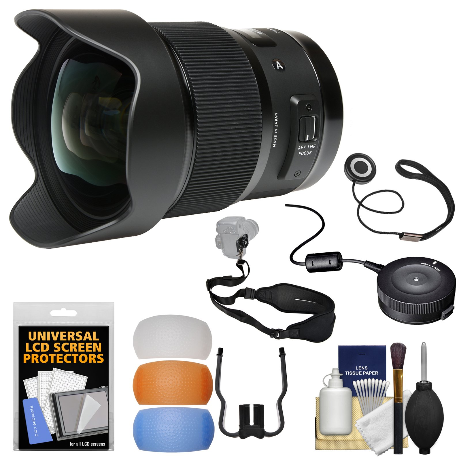 Sigma 20mm f/1.4 Art DG HSM Lens with USB Dock + Sling Strap + Diffusers + Kit for Canon EOS Digital SLR Cameras