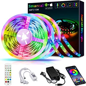 50ft /15M LED Strip Lights,Smareal Led Lights Strip RGB LED Strip Music Sync Color Changing LED Strip Lights APP Bluetooth Controll + Remote,LED Lights for Bedroom,Party and Home Decoration