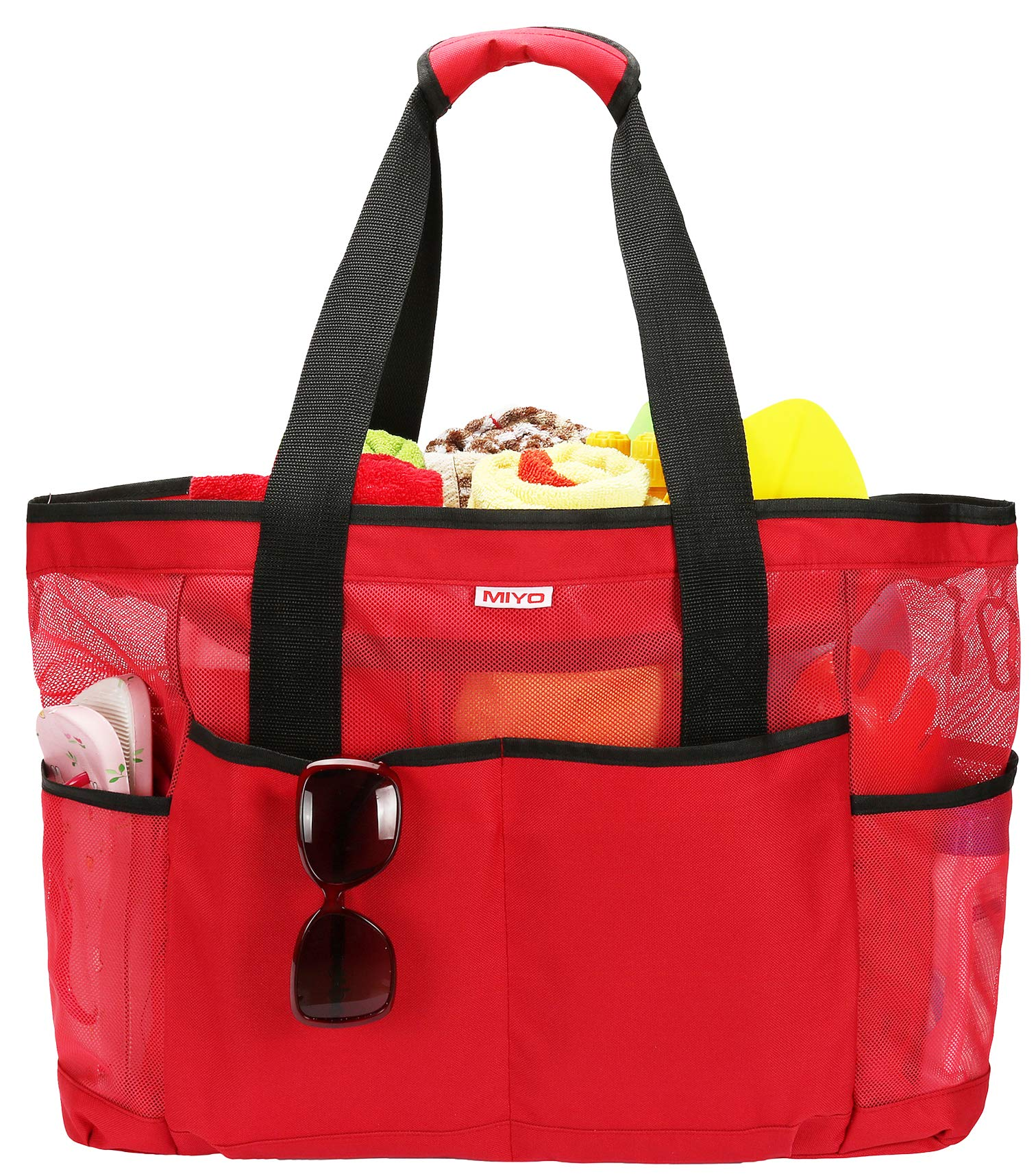 Mesh Beach Bag -Extra Large Beach Tote Bag - Grocery & Picnic Tote Travel Bags Red