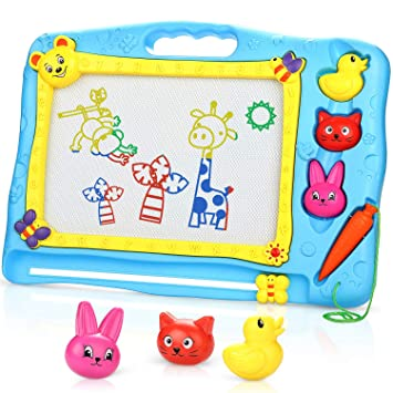 SUNYJOY Almohadilla Borrable de Escritura, Pizarra Magnética Infantil, Pizarra Magnética Colorido, 3 Animales-stampers - Juguetes educativos - 40 x ...