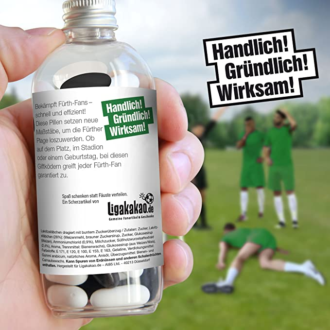 Lakritz Giftk/öder zur effektiven Abwehr von Ingolstadt-Fans F/ürth /& alle Fu/ßball-Fans Aufgepasst Fan-Entferner Ingolstadt N/ürnberg diesen S/ü/ßigkeiten kann kein Freund widerstehen Lakritz