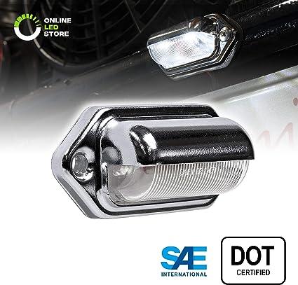 Chrome Surface-Mount DOT//SAE LED License Plate//Tag Light Trailer RV Truck Boats