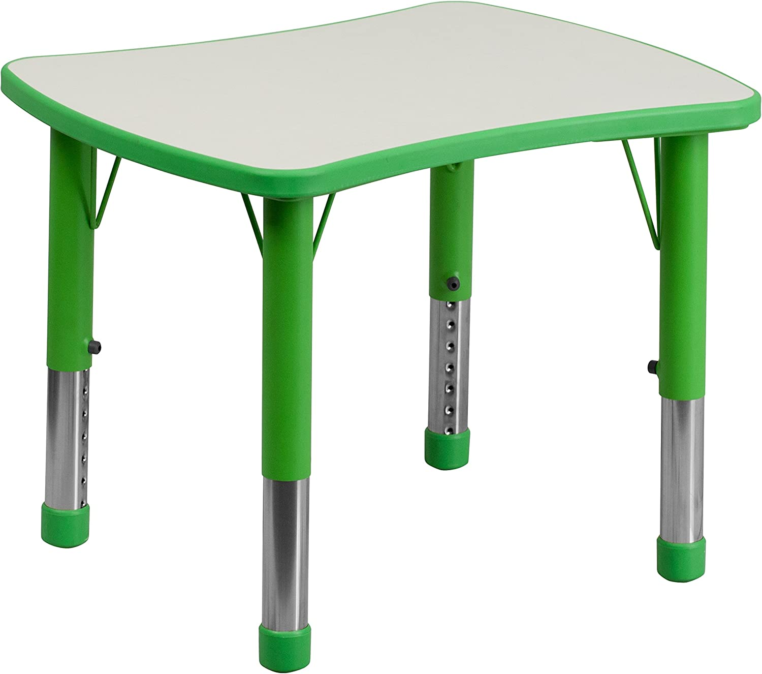 Flash Furniture 21.875W x 26.625L Rectangular Red Plastic Height Adjustable Activity Table with Grey Top