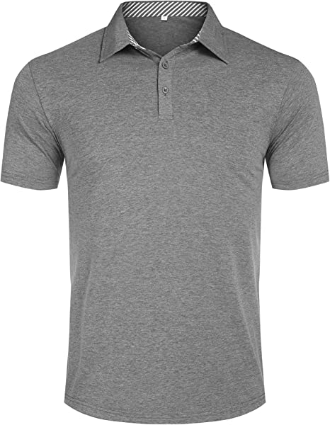 Men Plain Classic Short Sleeve Summer Polo Shirt T-Shirt Slim Fit Casual Top Tee
