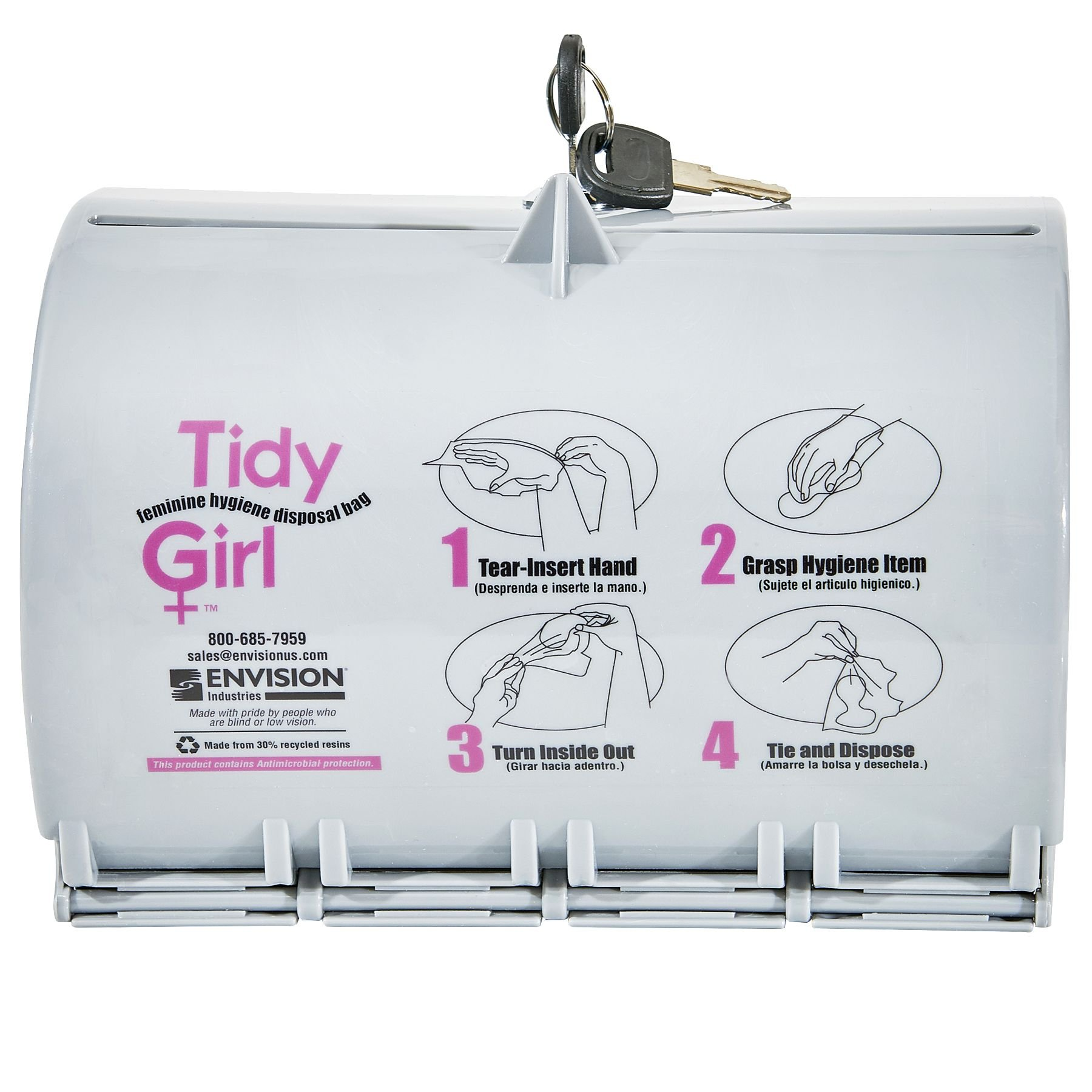STOUT by Envision STO-TGUD-P TidyGirl Feminine Hygiene Disposal Bag Dispenser, Durable, Easy to Fill, Install, and Clean, Plastic, Gray
