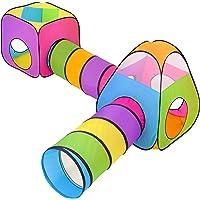 NUBUNI 4 i 1 barns tält: 2 tyg Casitas + 2 lektunnel för barn: Hopfällbar babypark Spädbarnbollar inomhus utomhus…