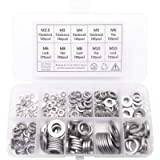 QTEATAK 260 Pcs 7-Size 304 Stainless Steel Flat Washer & Lock Washer Assortment Set (Size Included: M2.5 M3 M4 M5 M6 M8…