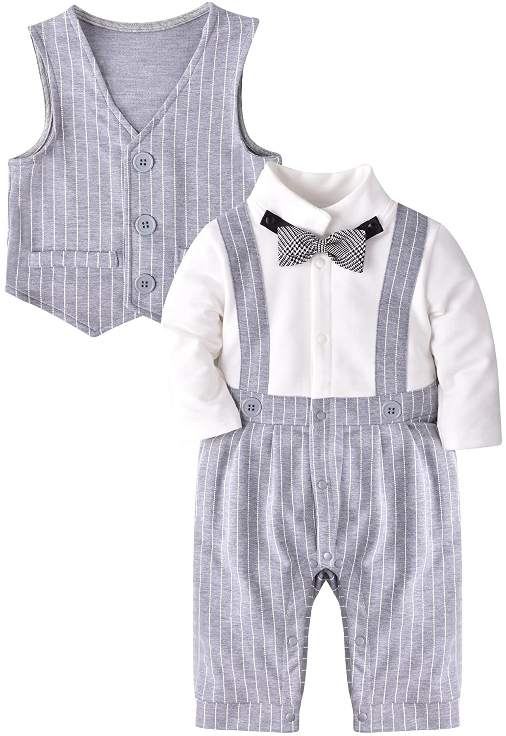 ZOEREA Baby Boy Gentleman Rompers Striped Toddler Suit 2pcs Outfit Wedding YS1491