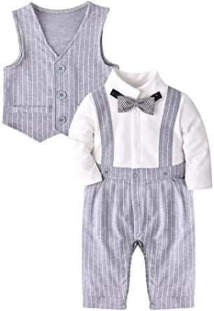 169536fbff1a Amazon.com  ZOEREA Baby Boy Gentleman Rompers Striped Toddler Suit ...