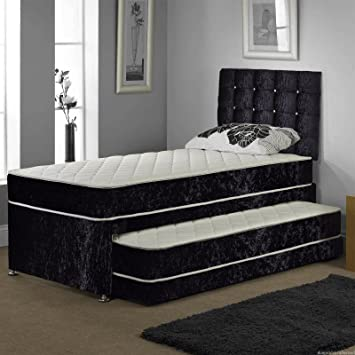 huge discount 46597 e34a3 Sleep Factory Ltd SINGLE TRUNDLE GUEST BED 3 IN 1 WITH UNDER BED PULL OUT  BED WITH 2 MATTRESSES AND HEADBOARD (Brown)