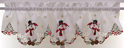 The Curtain Shop Embroidered Snowmen 58Wx12.5L Insert Valance