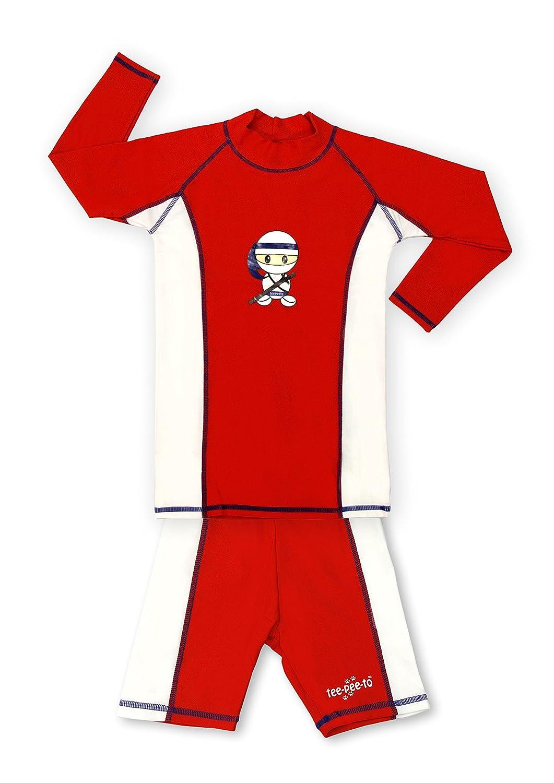 TEEPEETO Kids UVP50+ Ninja Rash Guard Long Sleeve and Shorts