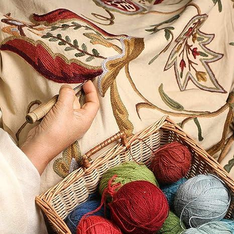 Amazon Com Kashmir Watlab Jacobean Hand Embroidered Wool On Cotton