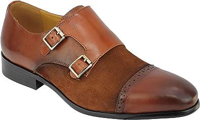 Formales de la Boda Zapatos de Vestir de época Real de Ante y Cuero 2 Tone Retro Hebilla Inteligentes de los nuevos Hombres