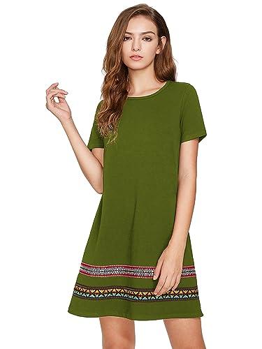 ROMWE Women's Boho Short Sleeve Loose Casual Embroidered Tunic Dress