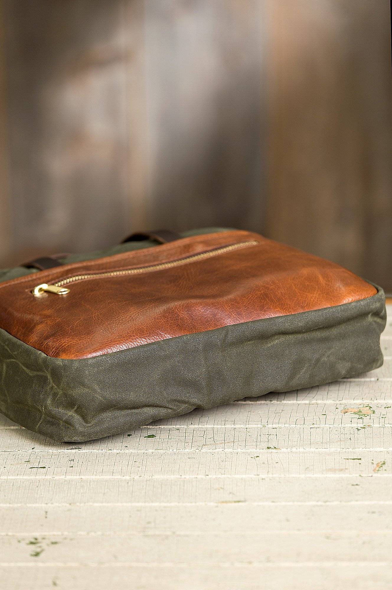 Heritage Canvas and American Bison Leather Briefcase by Overland Sheepskin Co (Image #9)