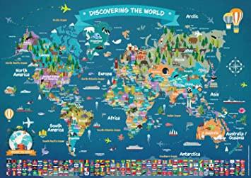 Map Of Uk Showing 4 Countries.World Map Poster For Children Large Illustrated Wall Map Poster For Kids Laminated World Map With Countries And Flags Kids Room Poster