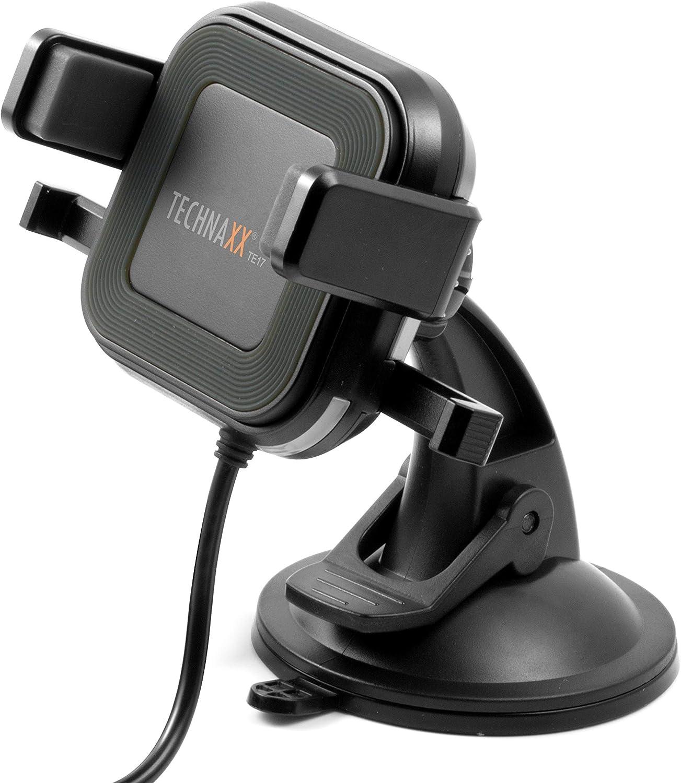 Technaxx Caricatore per auto wireles con supporto per smartphone TE17 Carica di smartphone a induzione da 10W