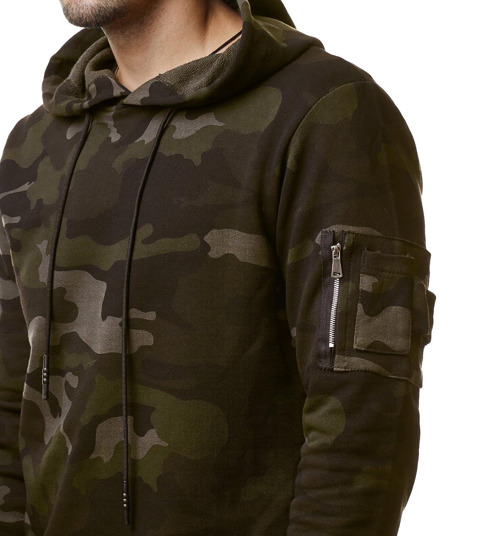 EightyFive Herren Camouflage Hoodie Kapuzenpullover Sweater Grün Camo EF1002:  Amazon.de: Bekleidung