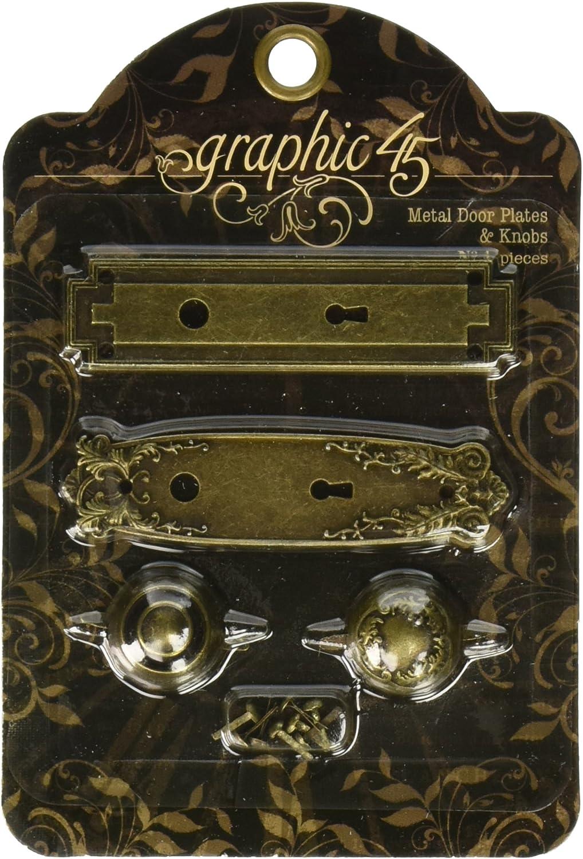 Graphic 45 Antique Door Plates and Knobs Brass Metal
