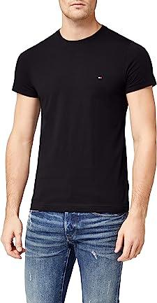 Camisetas negras de Tommy Hilfiger con cuello redondo