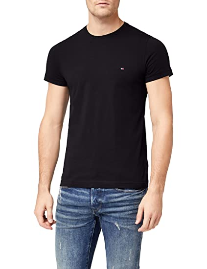 0c95989e2 Tommy Hilfiger Men's CORE Stretch Slim CNECK TEE T-Shirt, (Flag Black 083