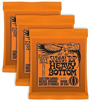 Cuerdas para guitarra Ernie Ball Skinny Top Heavy set enrollado de níquel,010 a,052; paquete de 3 sets.: Amazon.es: Instrumentos musicales