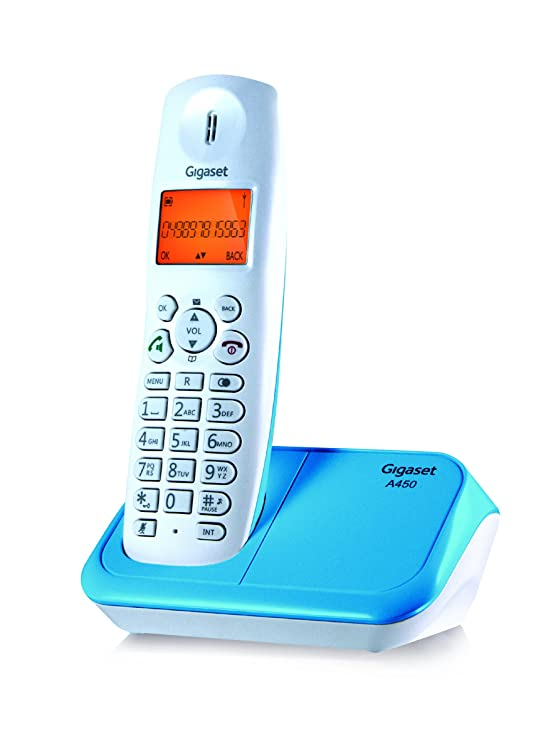 Gigaset A450 White & Blue Cordless Landline Phone Landline Phones at amazon