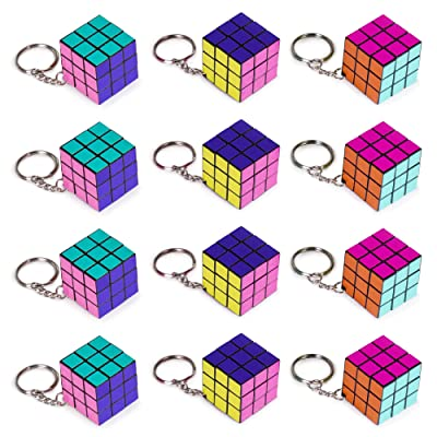 """12 Piece Party Pack of Mini 1.25"""" Retro 80s Neon Puzzle Cube Keychain Toys - Great Game for Party Favors, Classrooms & Keyrings - Carnival Prizes, Novelty Gifts, and Nostalgia: Toys & Games"""