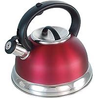 Buckingham Bouilloire à Induction en forme de dôme de, sifflante 2,6l, rouge.