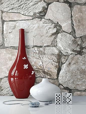 Steintapete grau wohnzimmer  Steintapete Vliestapete Grau , schöne edle Tapete im Steinmauer ...