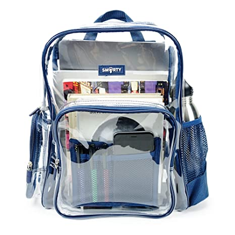 88f1514dfc Amazon.com  Heavy Duty Clear Bookbag Durable Plastic Transparent Clear  Backpack for School Work Boy Men Law Enforcement (Medium