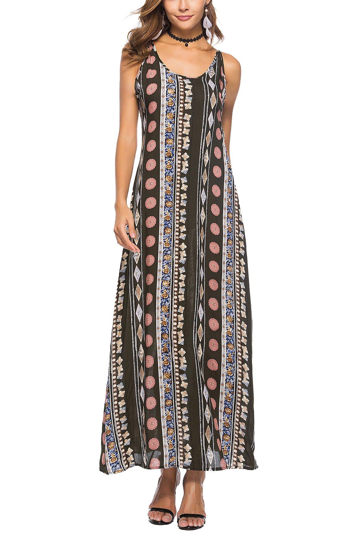 JYUAN Women's Casual Summer Backless Floral Print Summer Spaghetti Straps Boho Beach Long Maxi Dress