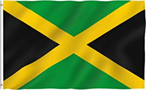 Anley Fly Breeze 3x5 Foot Jamaica Flag - Vivid Color and Fade Proof - Canvas Header and Double Stitched - Jamaican National Flags Polyester with Brass Grommets 3 X 5 Ft
