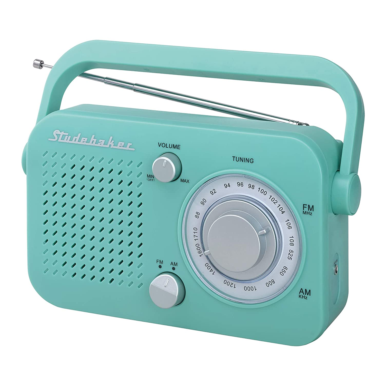 Studebaker SB2001 Retro Portable AM/FM, Small Personal Transistor Radio (Teal)