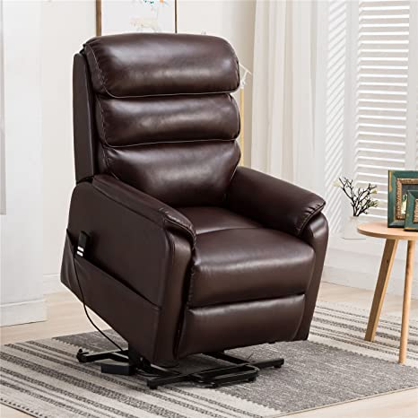 Pleasing Irene House Dual Motor Lays Flat Electric Power Lift Recliner Chair For Elderly Comfortable Breath Leather Soft And Sturdy Red Brown Leather Machost Co Dining Chair Design Ideas Machostcouk