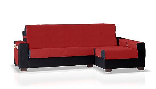 Bartali Funda de sofá Chaise Longue GEA, Brazo Derecho, Tamaño pequeño (200 Cm.), Color Rojo