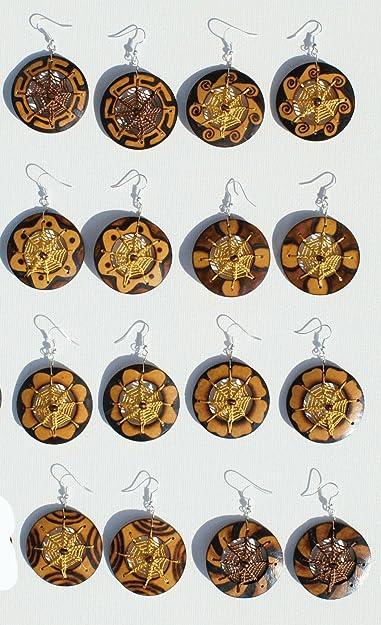 e3809e56eae1 Lote 8 pares pendientes de coco joyas atrapasueños colores naturales hechos  a mano  Amazon.es  Joyería
