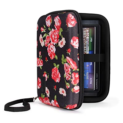 USA Gear Hard Shell Electronic Organizer Travel Case 7.5 Inch with Weather Resistant Exterior and Large Mesh Accessory Pocket - Compatible with Garmin GPS, Chargers, and More Electronics - Floral