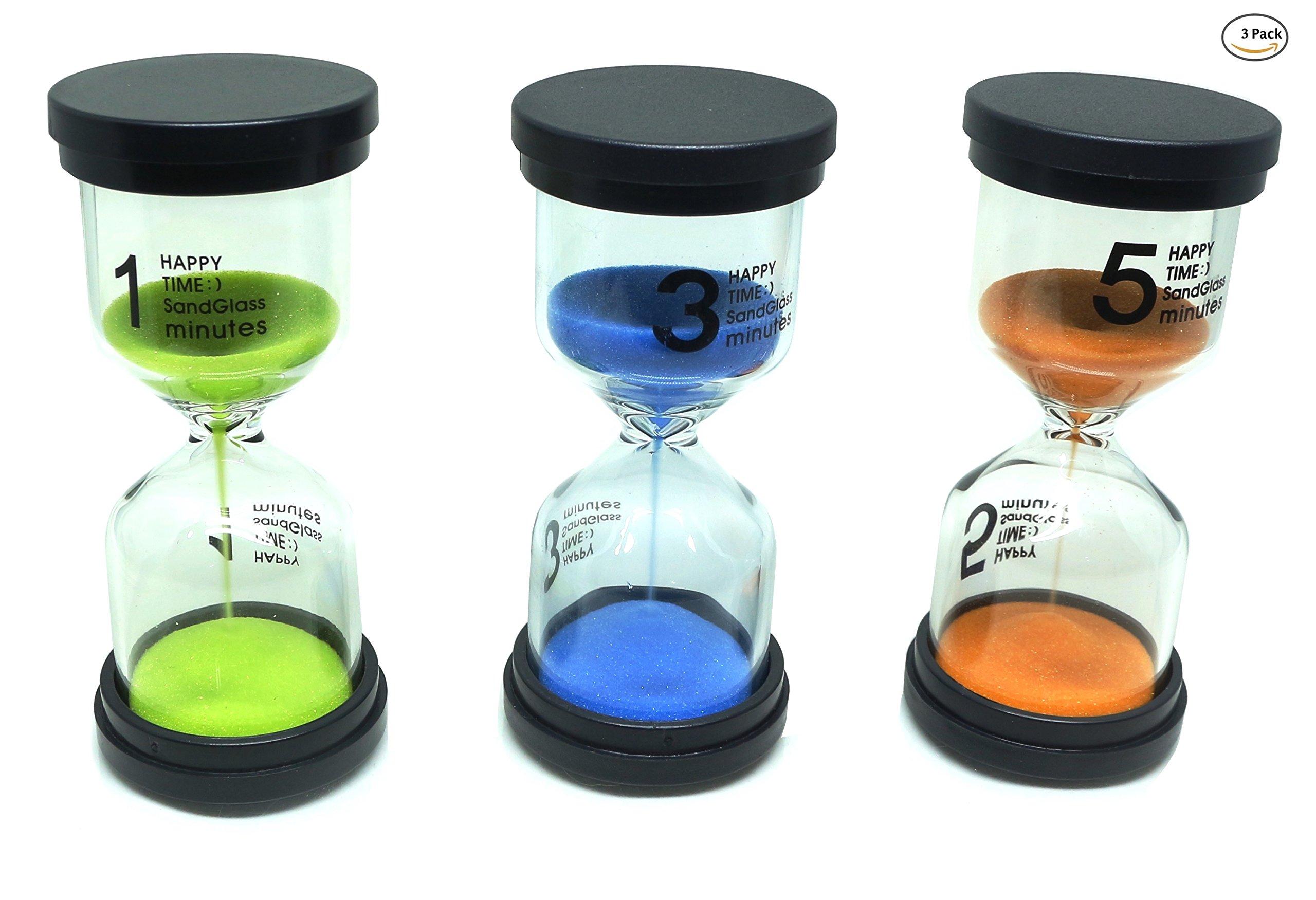 Punnarit Hourglass Sand Timer 3 Colors Sandglass Sand Clock Timer 1min / 3mins / 5mins for Kids, Classroom, Kitchen, Games, Brushing Timer, Home Office Decoration (Set 3 Pack)