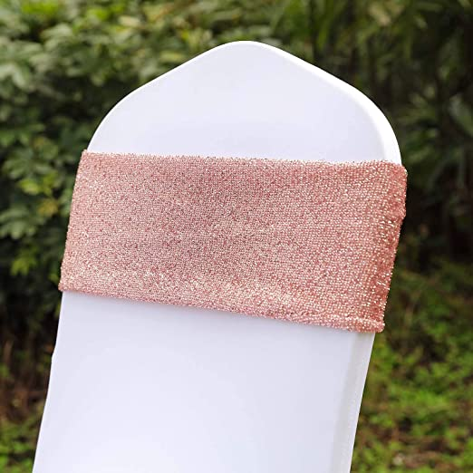 10 Rose Gold Metallic Spandex Chair Sashes Silver Buckles Wedding Decorations