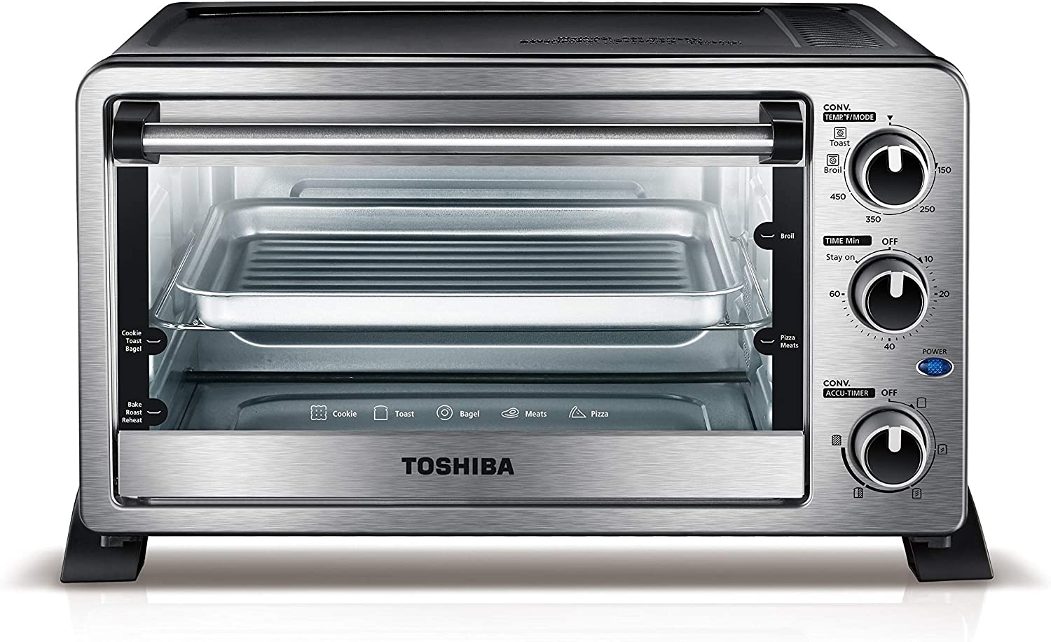 Toshiba MC25CEY-CHSS 6-Slice Convection Toaster Oven, Stainless Steel