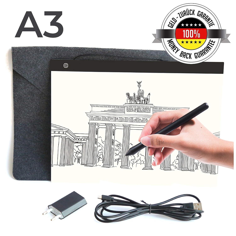 Sioco Light Pad Mesa de Luz A3 Portable + Estuche + Adaptador   3 Niveles de Luminosidad Ajustable   Tabla Pizarra Gráfica Ultra Sutil   Tableta ...