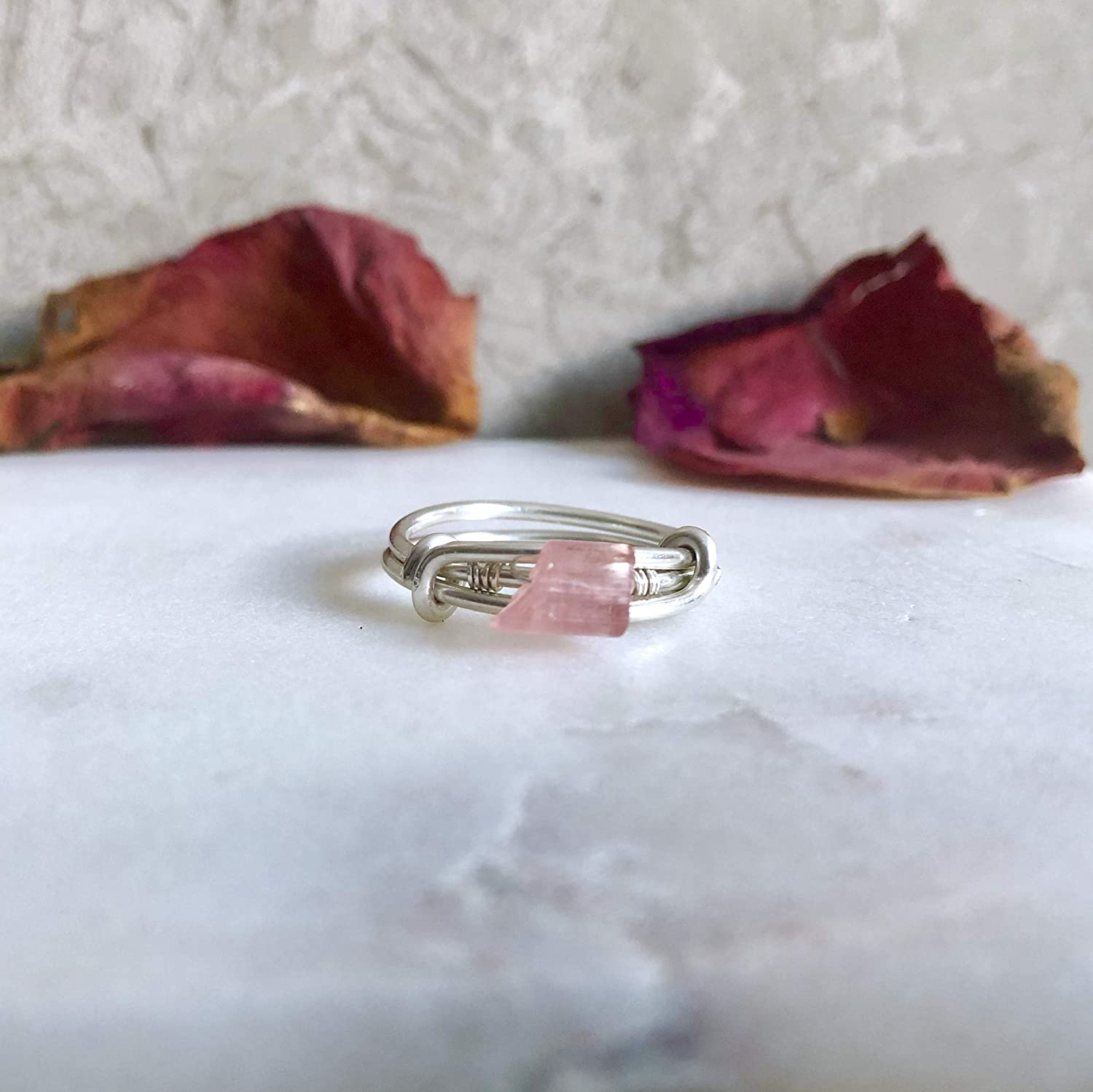 Raw Ring SIZE 7 Sterling Silver Pink Tourmaline