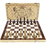 "AMEROUS Chess Set, 15""x15"" Folding Magnetic Wooden Standard Chess Game Board Set with Wooden Crafted Pieces and Chessmen Storage Slots"