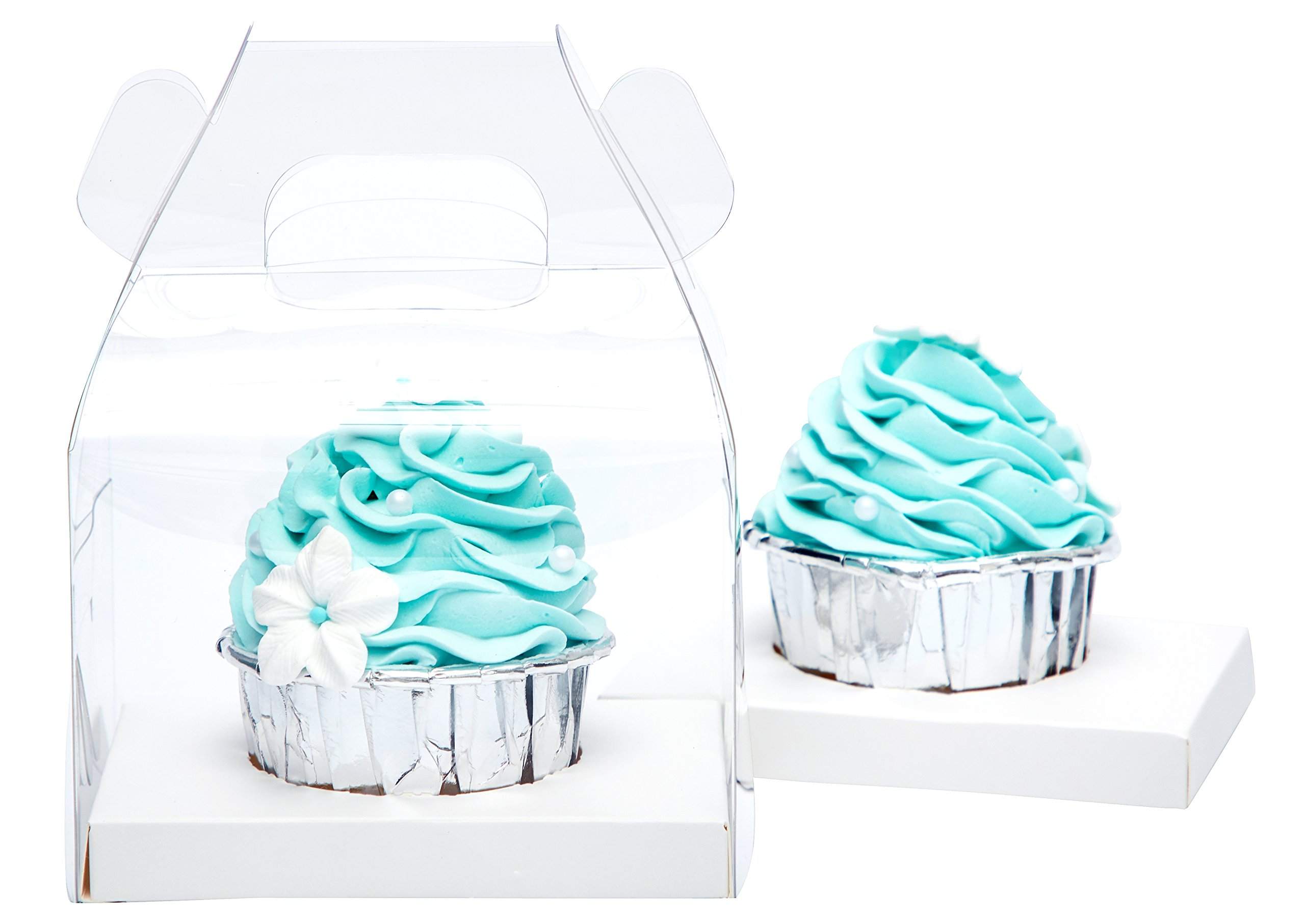 Yotruth Clear Cupcake Boxes Single With Handle and White Insert 40 Pack