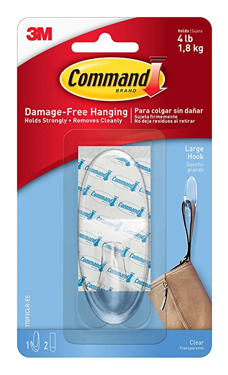 Command 17093CLR Large Hook with Strips - Clear: Amazon.co.uk: DIY ...