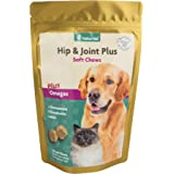 NaturVet Hip & Joint Plus Soft Chews Plus Omegas for Dogs and Cats, 120 ct Soft Chews, Made in USA